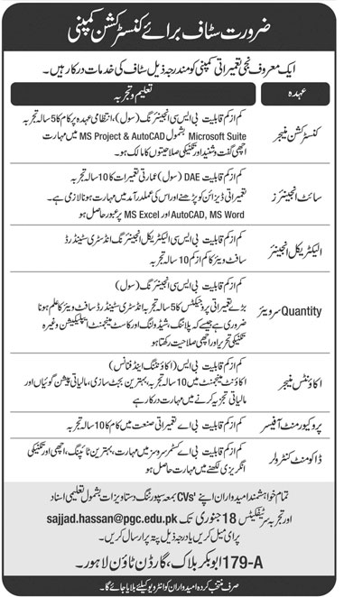 Leading Construction Company (Pvt ) Limited Lahore Jobs - Latest