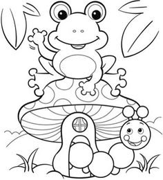 Cute Frog And Catterpillar Coloring Page For Kids