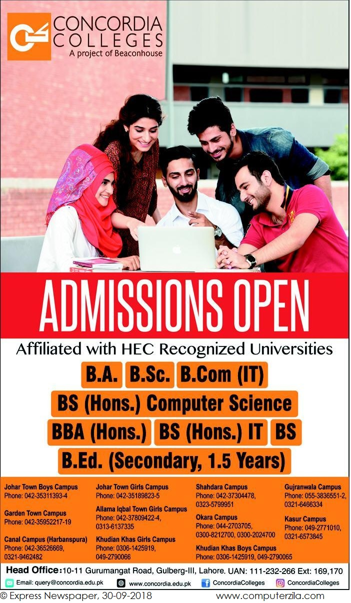Admissions Open For Fall 2018 At CONCORDIA Lahore Campus