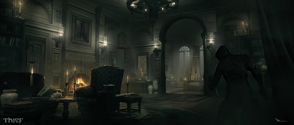 05-Architect-Mansion-Living-Room-Mathieu-Latour-Duhaime-Concept-Art-for-Thief-Steampunk-feel-Video-Game-www-designstack-co