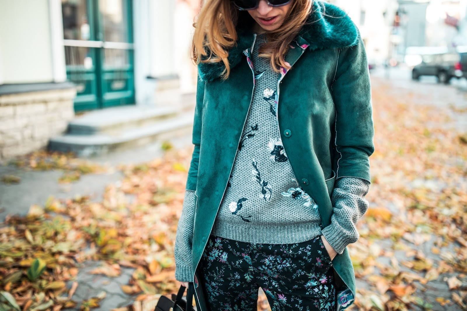 floral pants sweater fur collar coat outfit fall
