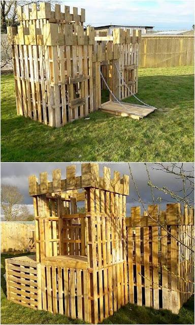 Castillo para niños hecho con palets de madera