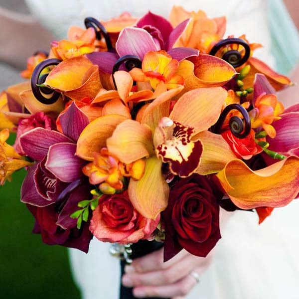 A Dazzling Autumn Wedding Bouquet Can Be Made Out Of Deep Coloured Flowers