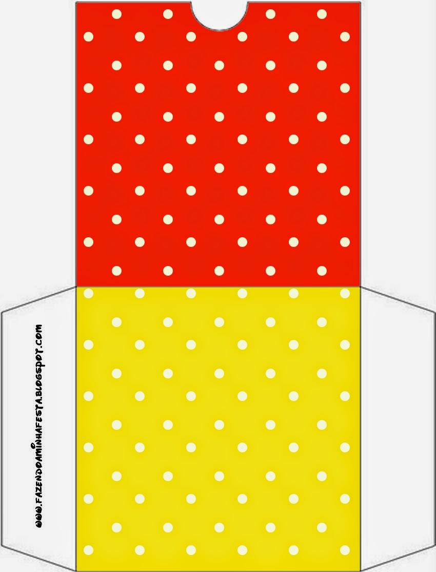 Funda CD´s para Imprimir Gratis de Rojo, Amarillo y Lunares Blancos.