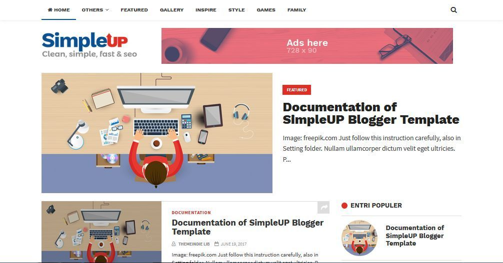 Simpleup Template Blog Simple Sederhana Gratis