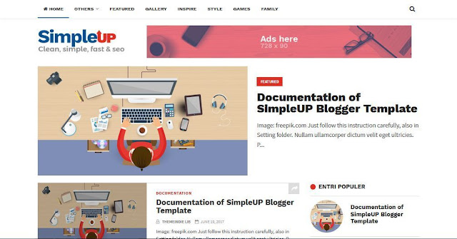 SimpleUP - Template Blog Simple Sederhana Gratis