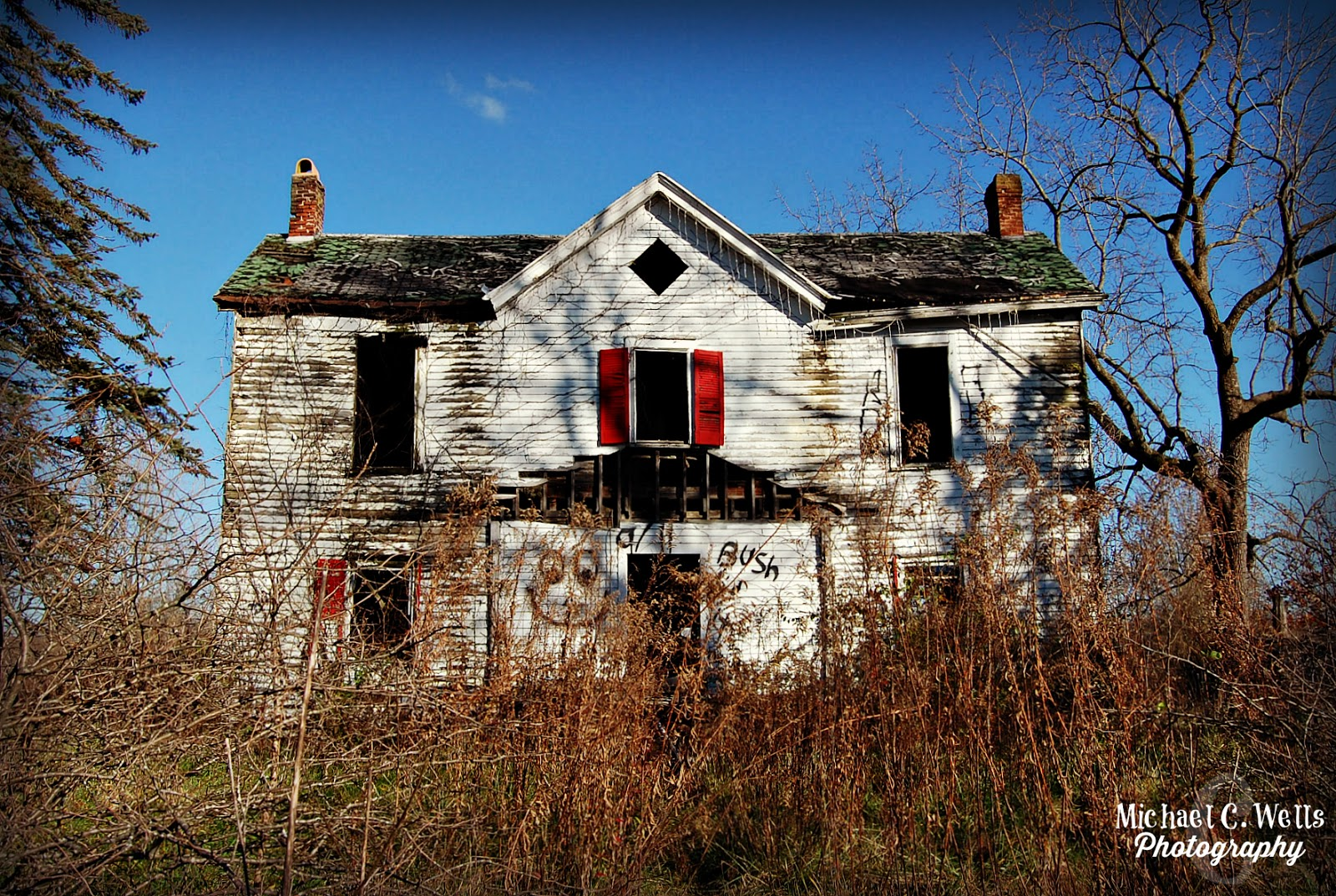 Built In  This Abandoned Farmhouse Was Originally Built With Green Shutters However The New Owners Quickly Painted Them Red And It Became The