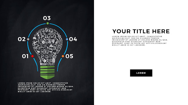 Infographic Education Light Bulb Elements Free PowerPoint Template Slide 4
