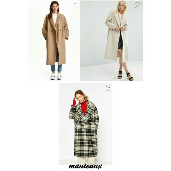 1. Manteau oversize en laine H&M 2. Manteau trapèze mi-long en laine mélangée ASOS 3. Manteau maxi à carreaux ZARA