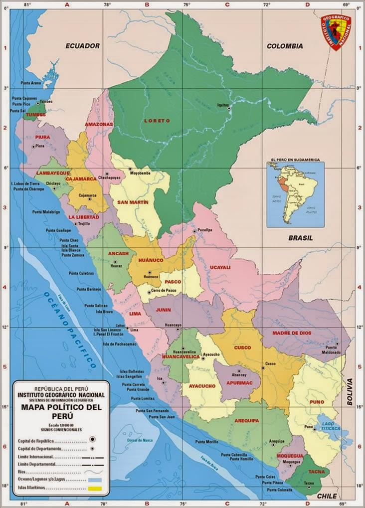 Mapa Politico Del Peru.El Mapa Politico Ciencia Geografica