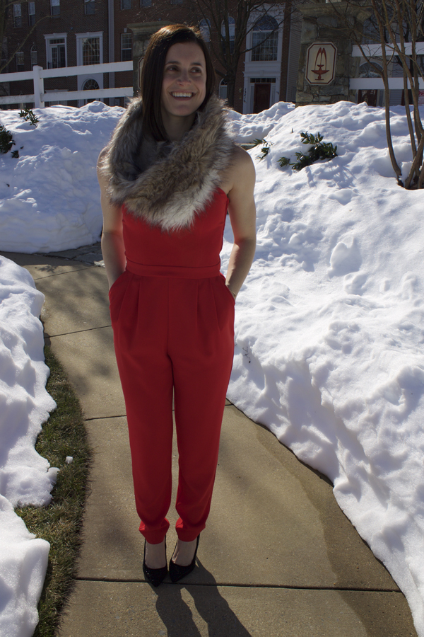 Jumpsuit, red jumpsuit, H&M jumpsuit, winter outfit, Valentine's Day outfit, red, Forever 21 coat, winter coat, black winter coat, black fur coat, black heels, black pumps, Express bag, quilted bag, ASOS snood, fur scarf, fur snood, Express bracelet, XO, xo bracelet