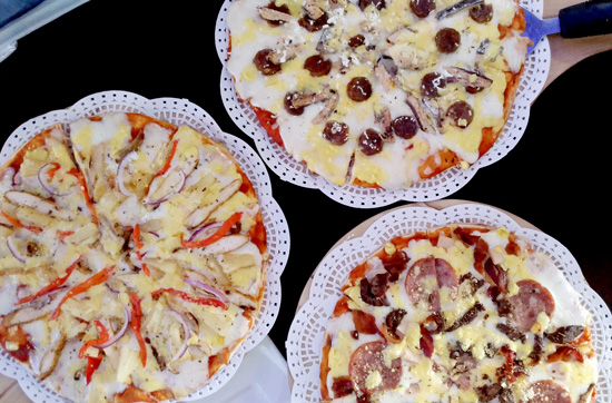 All-Meat Pizza, Hawiian Chicken and Pineapple Pizza and Davawenya Pizza