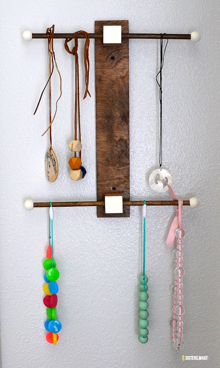 a fun modern jewelry holder to hang your necklaces and bracelets. Try the konmarie method to organize your jewelry.