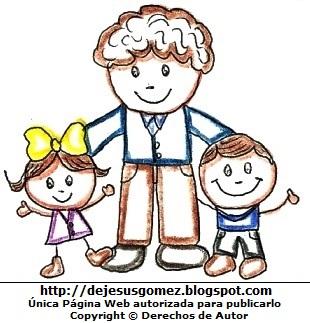 Dibujo de un papá con sus hijos. Imagen de papá hecho por Jesus Gómez