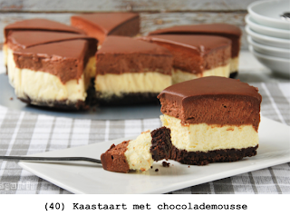 Krokante cake, kaas- en chocolademousse en ganache
