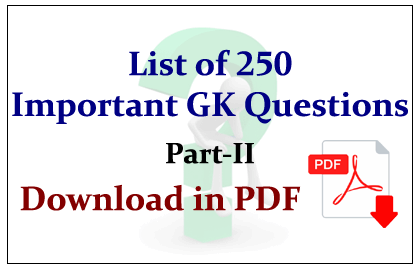 List of 250 Important GK Questions in PDF