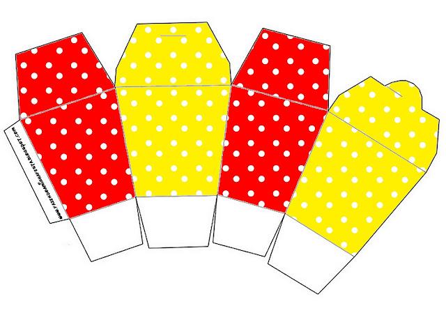 """Caja tipo """"de comida china""""de Rojo, Amarillo y Lunares Blancos."""