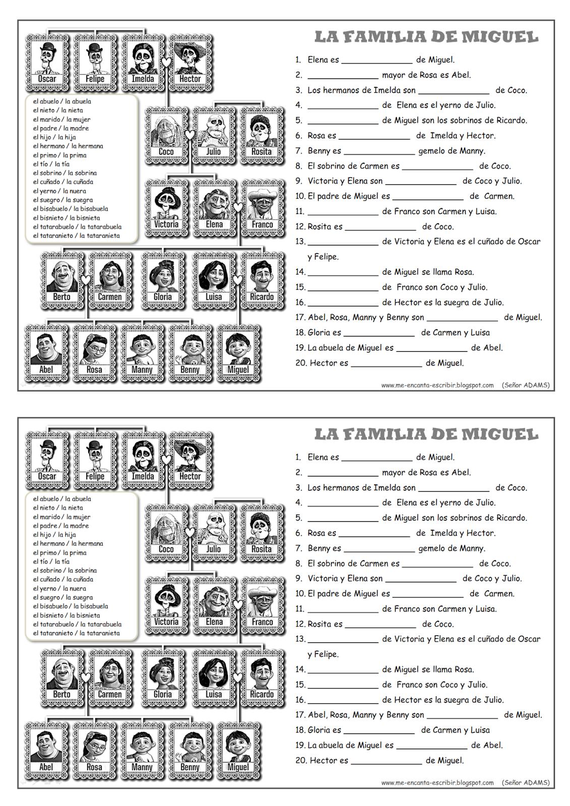 Me Encanta Escribir En Espanol Arbol Genealogico La