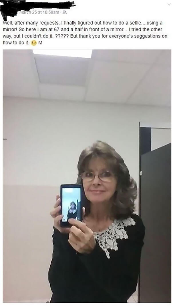 25 Hilarious Times Our Grand Parents Failed To Use Social Media - It's Her First Selfie