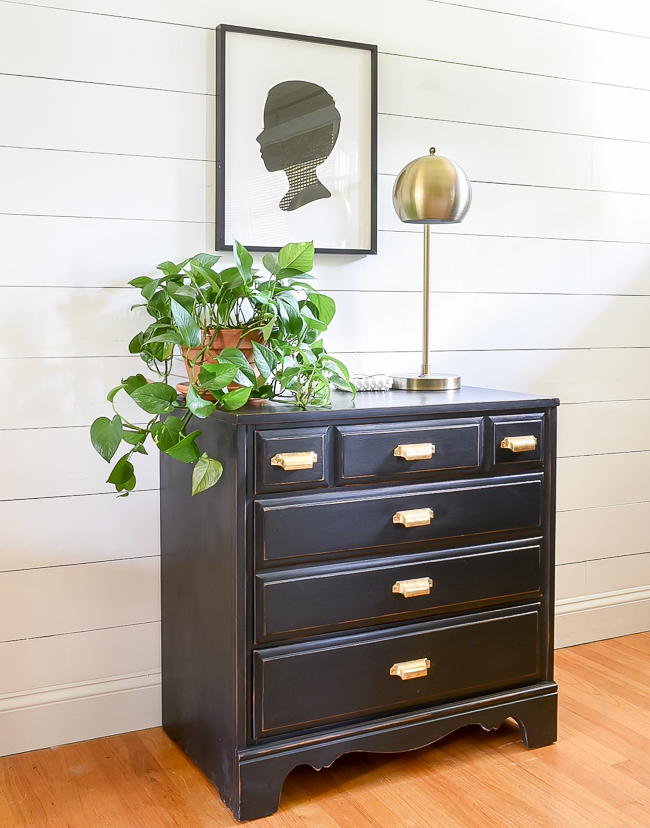 Small black dresser makeover with brass bin pulls