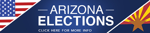 KJZZ Arizona Elections banner with American and Arizona flag images.  Text: click her for more info.