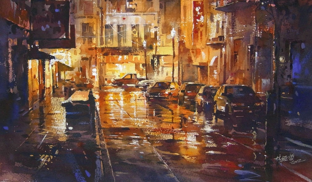 14-Lin Ching-Che 林經哲-Dreamlike-Watercolor-Paintings-in-the-City-www-designstack-co