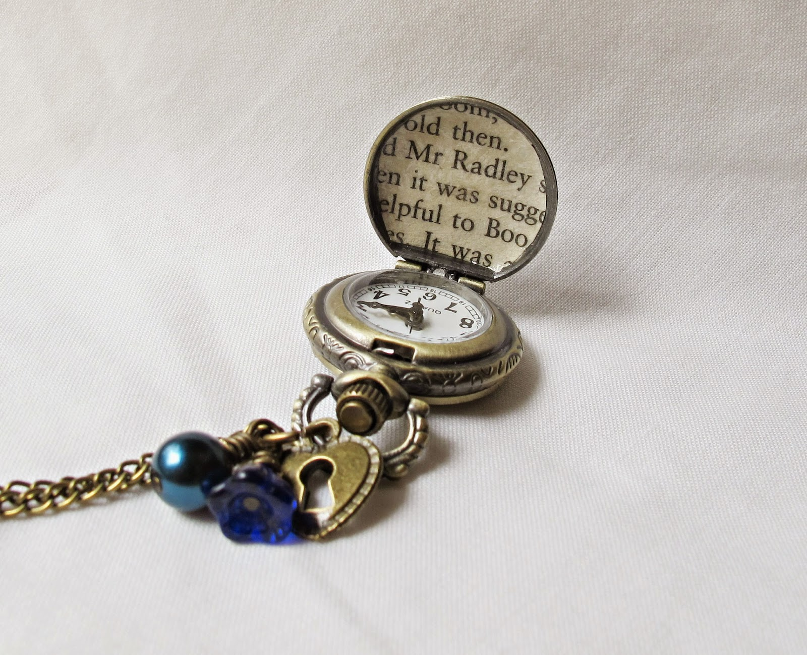 image pocketwatch necklace boo radley to kill a mockingbird harper lee blue navy cobalt lock two cheeky monkeys