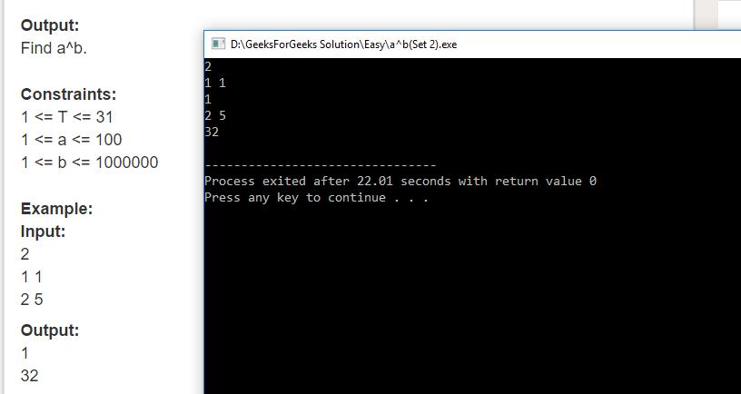 "Geeksforgeeks Solution For "" a^b(Set 2) """