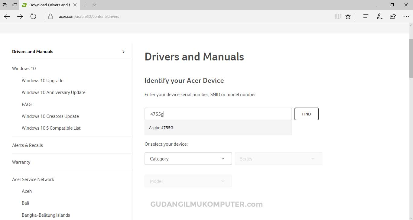 Cara Mencari Driver Laptop Acer