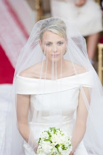 Gorgeous Princess Charlene Wedding Hairstyles with veil over face