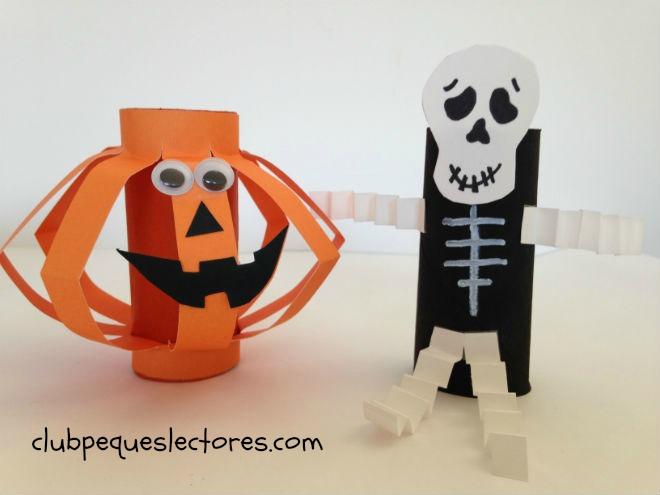 manualidad infantil de halloween con rollos papel, calabaza y esqueleto
