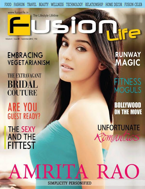 Amrita Rao on the cover page of Fusion Life Sept 13 issue