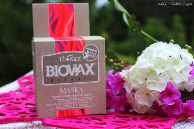 L`biotica, Biovax Botanic, Maska intensywnie regenerująca Baicapil, Malina i Róża – do włosów osłabionych, nadmiernie wypadających, potrzebujących pobudzenia fazy wzrostu