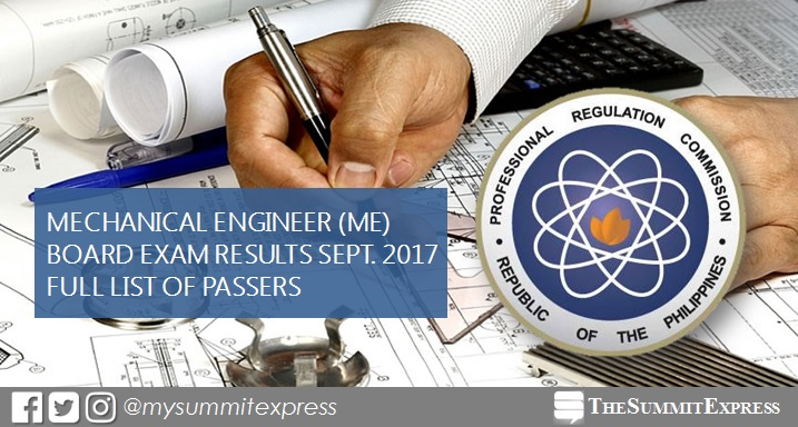 FULL RESULTS: September 2017 Mechanical Engineer ME board exam