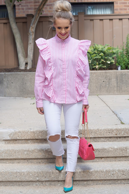shein stripes pink ruffles chicago blogger