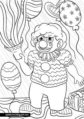 A coloring page of a clown and balloons / Värityskuva pellestä ja palloista