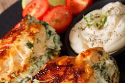 Pan Fried Spinach & Cream Cheese Stuffed Chicken