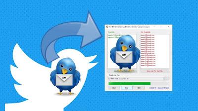 أداة  لفحص الايمايلات المتاحة مربوطة Twitter Email Available
