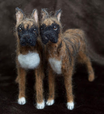 Needle felt boxer dog