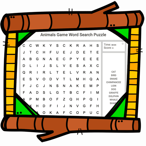 Animals Vocabulary Word Search