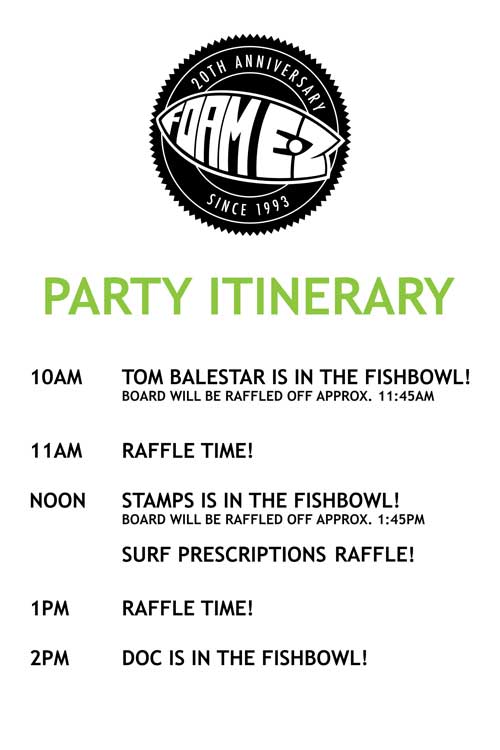 what the blank itinerary and updates for our party this saturday
