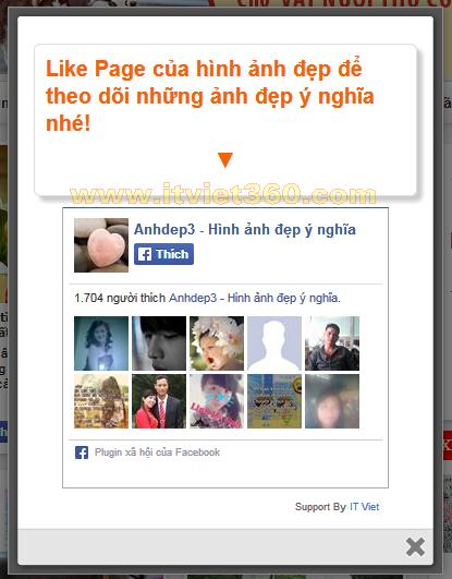 Code Popup khung Like Page Facebook giữa trang cho Website, Blog