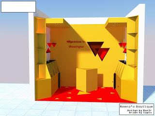 Disain konsep segitiga toko tas di Matos tampak depan