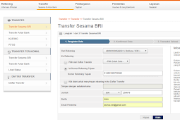 Cara Transfer di Internet Banking BRI Britama