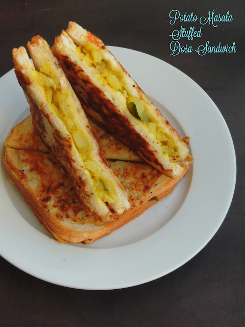 Potato Masala Stuffed Dosa Sandwich, Dosa Sandwich