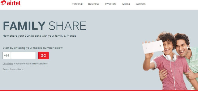 Airtel 3G/4G Data Pack Share : Share Your Data With Family and Friends