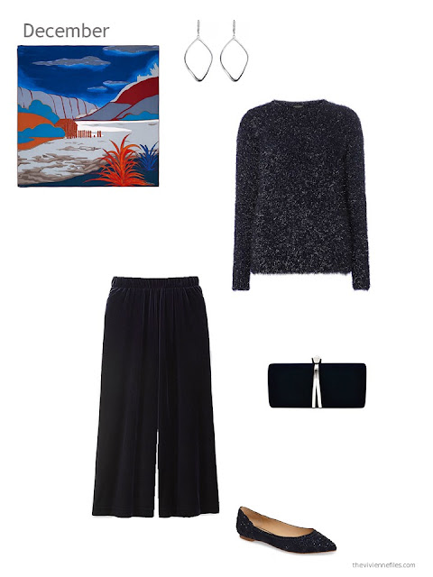 a navy sparkly sweater with navy velvet pants