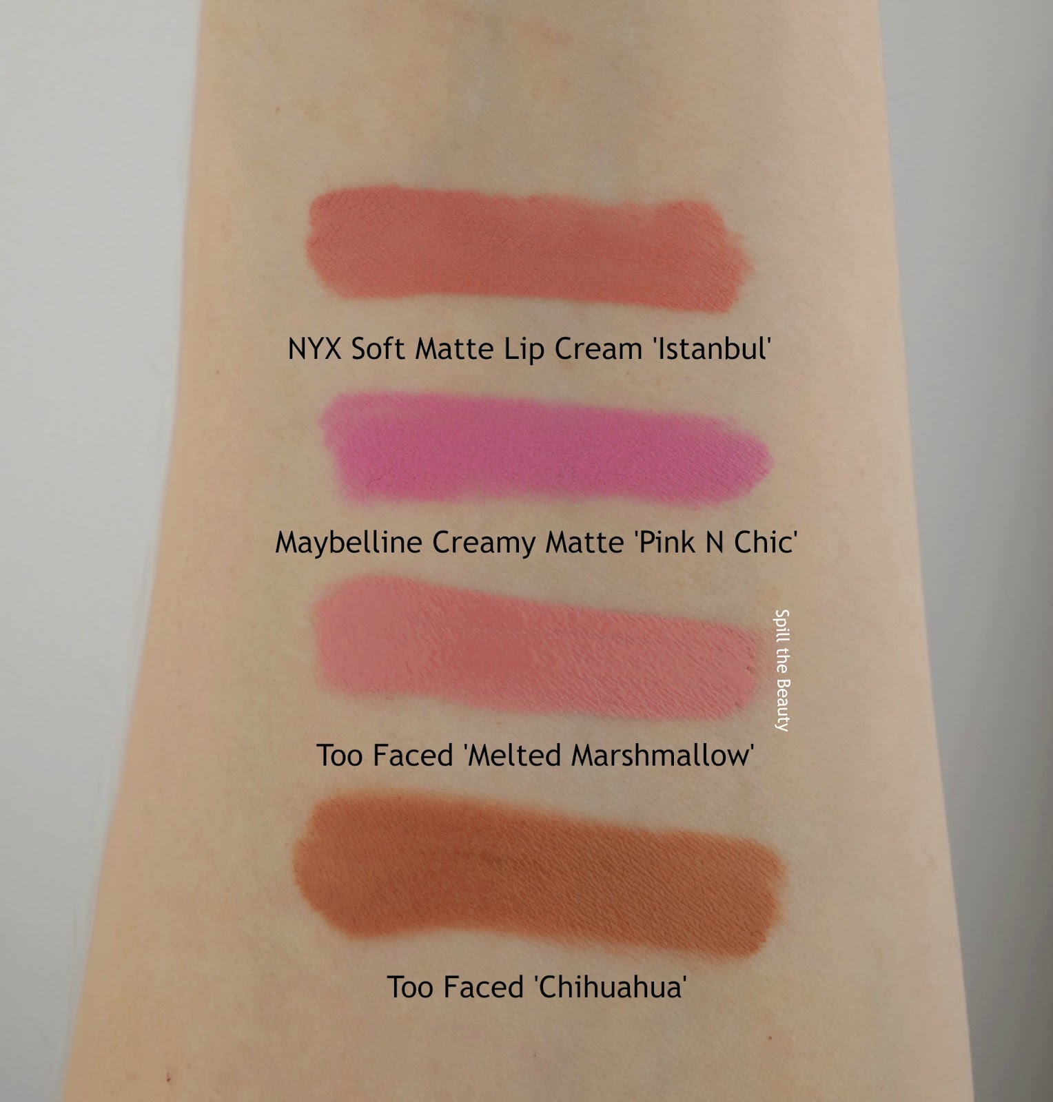 Too Faced Liquified Long Wear Lipstick Melted Marshmallow review swatches comparison drugstore dupe nyx maybelline