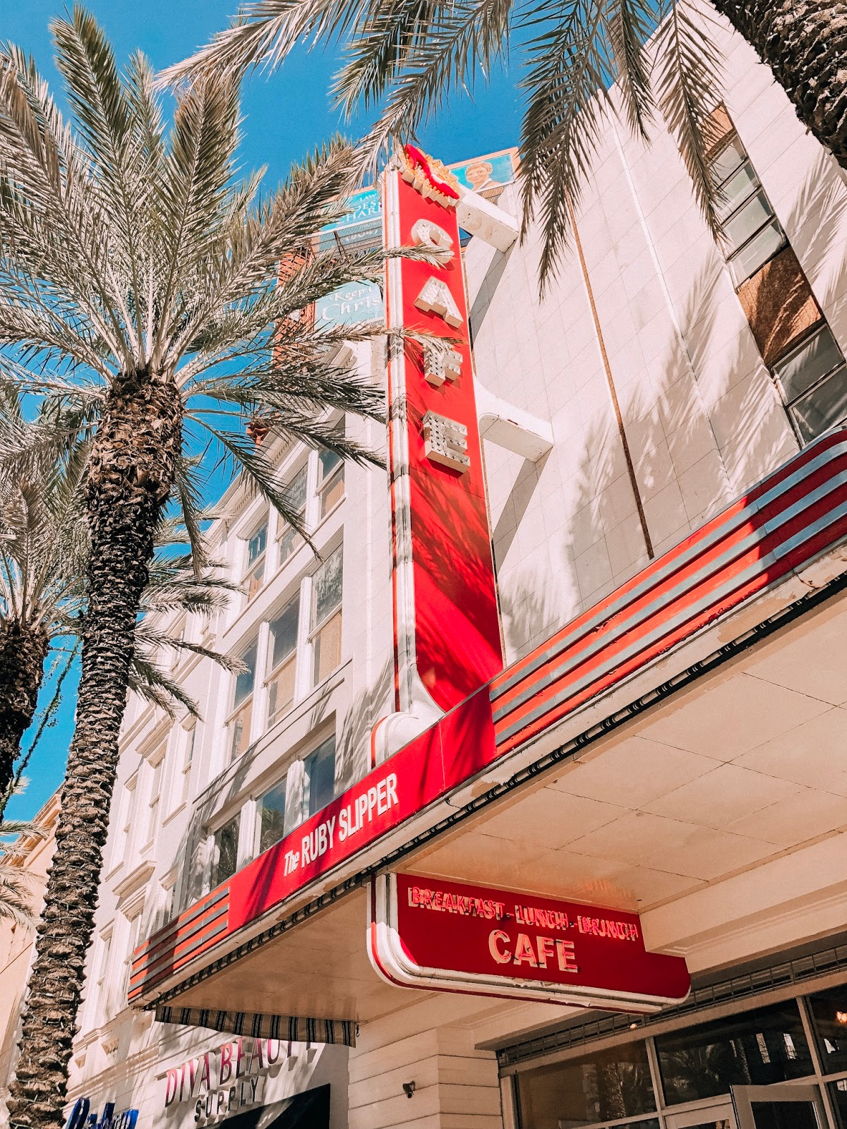 Outside shot of The Ruby Slipper Cafe on Canal Street in New Orleans