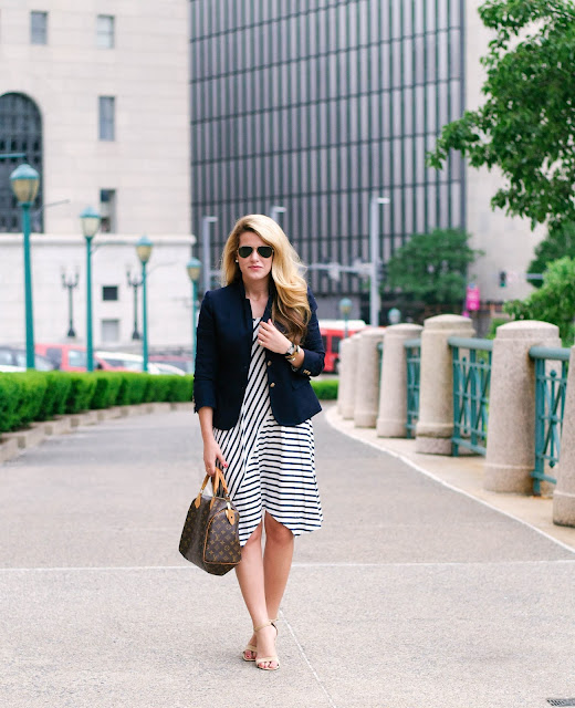 Wear-To-Work: Navy and White Striped Dress with Navy Blazer